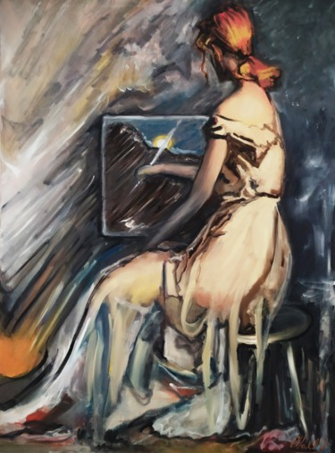 """Painting titled """"The painter"""" by Walter Geraci, Original Art, Oil Mounted on Wood Panel"""