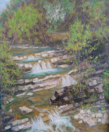 """Painting titled """"Waterfall"""" by Vasiliy Nesterov, Original Art, Oil Mounted on Stretcher frame"""