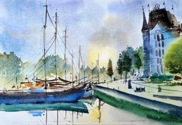 """Painting titled """"Dawn at Rotterdam"""" by Watervrush, Original Art, Watercolor"""
