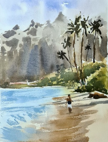 """Painting titled """"Calm beach, Hawaii"""" by Watervrush, Original Art, Watercolor"""