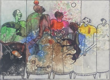 """Painting titled """"The tribe"""" by Wazzan Sa, Original Art, Ink"""