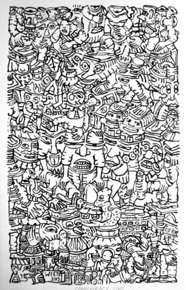 """Drawing titled """"Conspiracy"""" by Eric G. C. Weets, Original Art, Ink"""