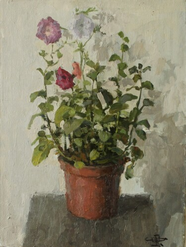 """Painting titled """"Flowers in the room"""" by White Head, Original Art, Oil"""