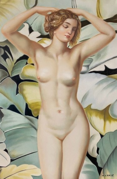 """Painting titled """"Nude in the foliage"""" by Wilhem Von Kalisz, Original Art, Oil"""