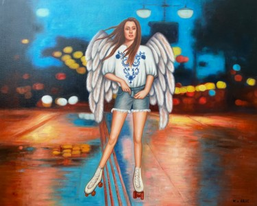 """Painting titled """"Skating in the night"""" by Wilhem Von Kalisz, Original Art, Oil Mounted on Stretcher frame"""