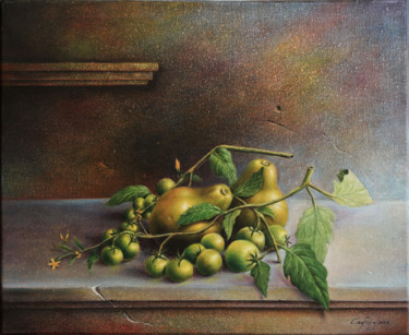 """Painting titled """"Fruit incontournable"""" by Castaño, Original Art, Oil Mounted on Stretcher frame"""