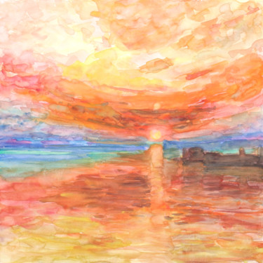Landscape Painting, watercolor, expressionism, artwork by Eric Winzenried