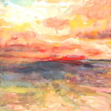 """Painting titled """"Composition colorée…"""" by Eric Winzenried, Original Art, Watercolor Mounted on Stretcher frame"""