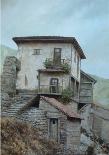 """Painting titled """"The house in mounta…"""" by Vadim Voitekhovitch, Original Art, Oil"""