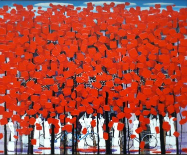 """Painting titled """"Row of red trees #10"""" by Xuan Khanh Nguyen, Original Art, Acrylic"""