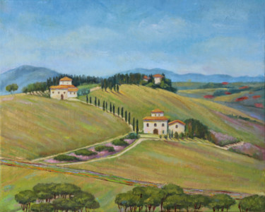 """Painting titled """"Tuscan Hills"""" by Yana Ros, Original Art, Oil"""