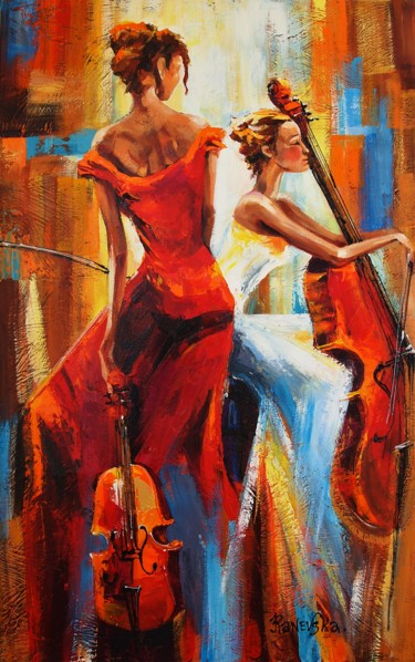 """Painting titled """"Musicals"""" by Yana Rafael, Original Art, Oil Mounted on Stretcher frame"""