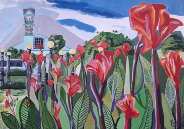 """Painting titled """"Red flowers in Cost…"""" by Yanasarttreasures, Original Art, Gouache"""