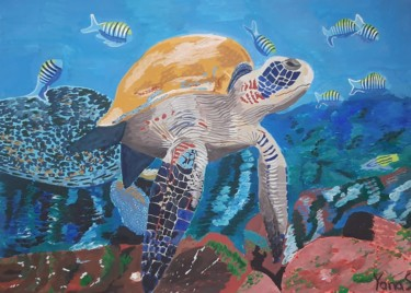 """Painting titled """"Sea turtle with tro…"""" by Yanasarttreasures, Original Art, Gouache"""