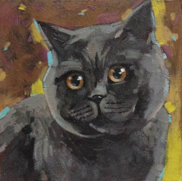 Cat Painting, acrylic, impressionism, artwork by Leonova Natalia