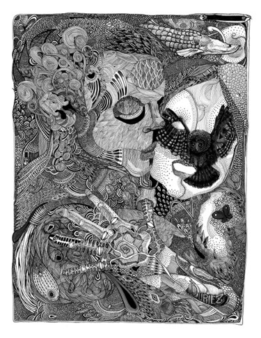 """Drawing titled """"Incandescence"""" by Yannick Duriez, Original Art, Ink"""