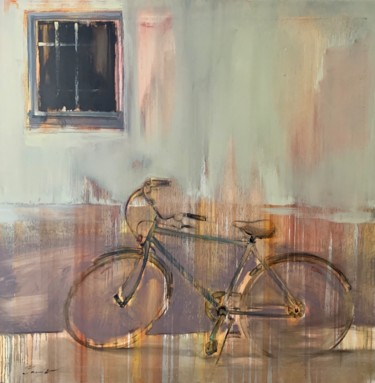 Bike Painting, oil, expressionism, artwork by Yaroslav Yasenev
