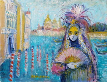 """Painting titled """"Le Grand Canal à Ve…"""" by Yolande Ardissone, Original Art, Oil Mounted on Stretcher frame"""