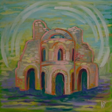 """Painting titled """"The Old Church"""" by Yuliana Vladova, Original Art, Oil"""