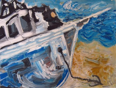 """Painting titled """"The Lonely Ship"""" by Yuliana Vladova, Original Art, Oil"""