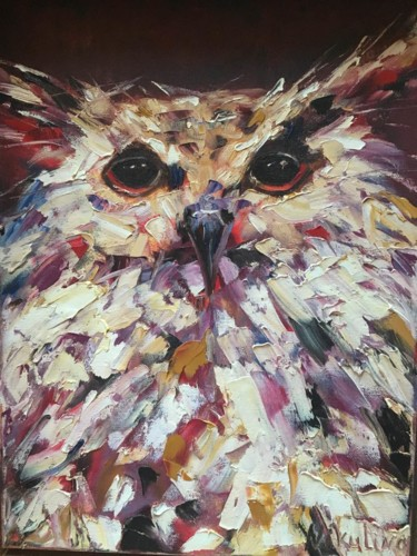"""Painting titled """"Owl"""" by Yulia Nikulina, Original Art, Oil Mounted on Stretcher frame"""