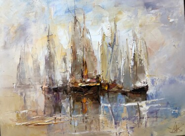 """Painting titled """"Boats"""" by Yuri Kovachev, Original Art, Oil Mounted on Stretcher frame"""