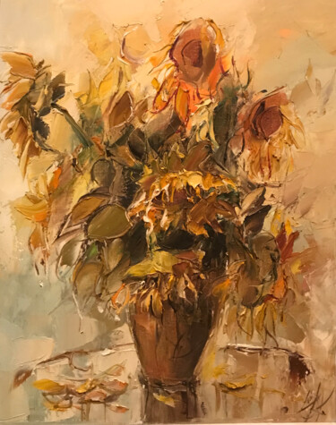 """Painting titled """"sunflowers"""" by Yuri Kovachev, Original Art, Oil Mounted on Stretcher frame"""