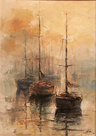 """Painting titled """"the three boats"""" by Yuri Kovachev, Original Art, Oil Mounted on Stretcher frame"""