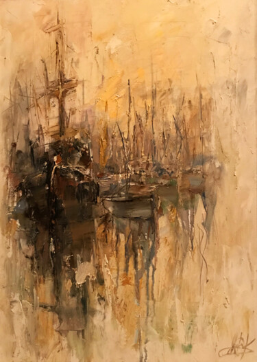 """Painting titled """"ghost boats"""" by Yuri Kovachev, Original Art, Oil Mounted on Stretcher frame"""