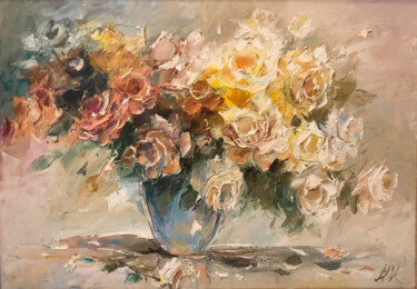 """Painting titled """"magnifiques roses"""" by Yuri Kovachev, Original Art, Oil Mounted on Stretcher frame"""