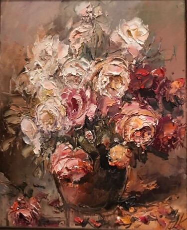 """Painting titled """"white roses"""" by Yuri Kovachev, Original Art, Oil Mounted on Stretcher frame"""