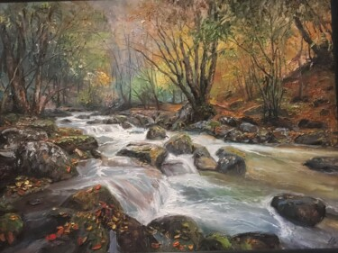 """Painting titled """"mountain river"""" by Yuri Kovachev, Original Art, Oil Mounted on Stretcher frame"""