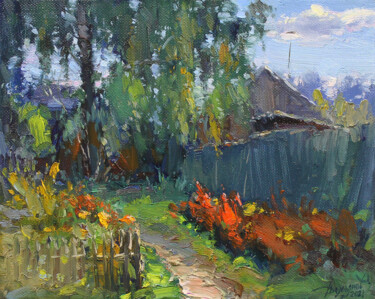 """Painting titled """"Along the fence"""" by Yuriy Demiyanov, Original Art, Oil Mounted on Stretcher frame"""