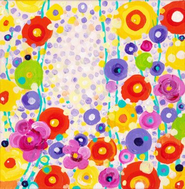 """Painting titled """"""""Summer Fun"""" floral…"""" by Alexandra Dobreikin, Original Art, Acrylic Mounted on Stretcher frame"""