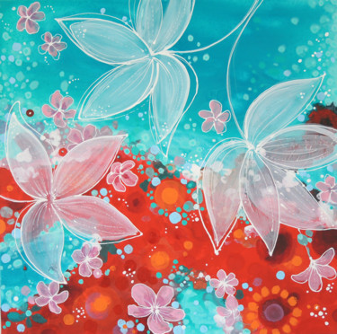 """Painting titled """"Spring Night floral…"""" by Alexandra Dobreikin, Original Art, Acrylic Mounted on Stretcher frame"""