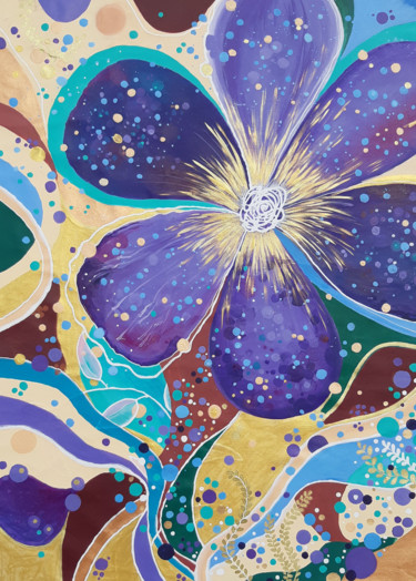 """Painting titled """"""""Modesty""""floral abs…"""" by Alexandra Dobreikin, Original Art, Acrylic Mounted on Stretcher frame"""