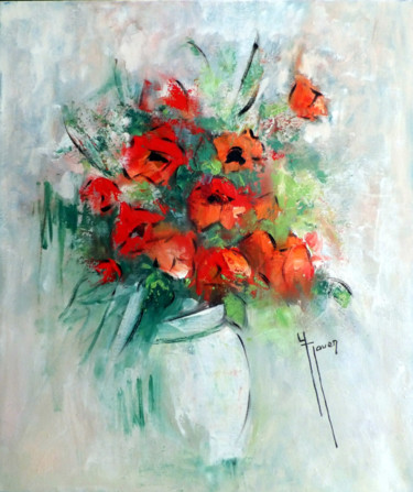Flower Painting, oil, impressionism, artwork by Yveline Javer
