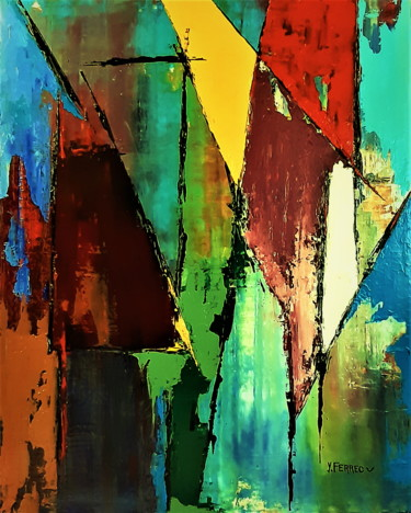Geometric Painting, oil, abstract, artwork by Yves Ferrec