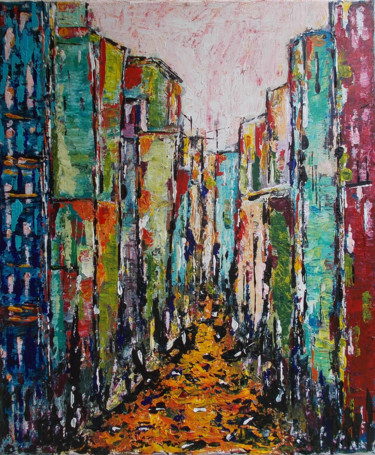 """Painting titled """"Abstract City #1"""" by Zeke Nord, Original Art, Acrylic"""