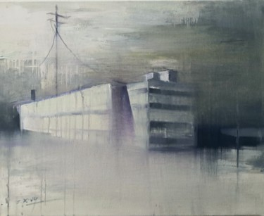 """Painting titled """"One City with nobody"""" by Weixuan Zhang, Original Art, Oil"""