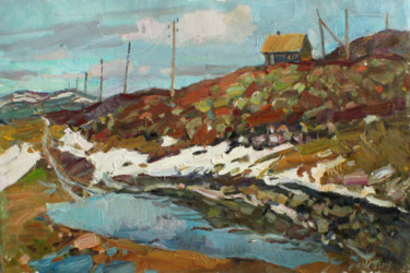 """Painting titled """"Spring in the Tundra"""" by Juliya Zhukova, Original Art, Oil"""
