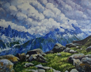 """Painting titled """"Alpine Heights"""" by Zoe Norman, Original Art, Oil Mounted on Stretcher frame"""