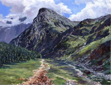 """Painting titled """"Mountain Path"""" by Zoe Norman, Original Art, Oil Mounted on Stretcher frame"""