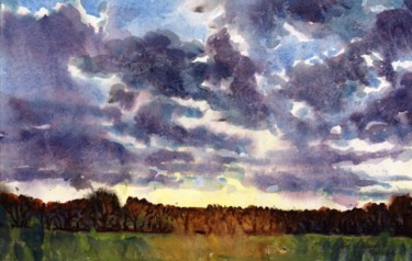 """Painting titled """"Evening Sky"""" by Zoe Norman, Original Art, Watercolor"""