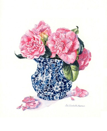 """Painting titled """"Chinese Vase of Cam…"""" by Zoe Norman, Original Art, Watercolor"""
