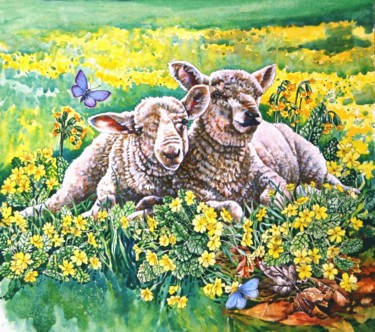 """Painting titled """"Spring Lambs"""" by Zoe Norman, Original Art, Watercolor"""