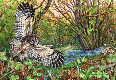 """Painting titled """"Woodland Hunter"""" by Zoe Norman, Original Art, Watercolor"""