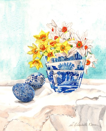 """Painting titled """"Spode Tea Cups"""" by Zoe Norman, Original Art, Watercolor"""