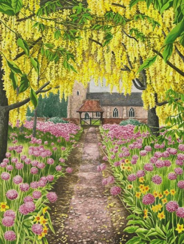 """Painting titled """"Church and Laburnum"""" by Zoe Norman, Original Art, Watercolor"""