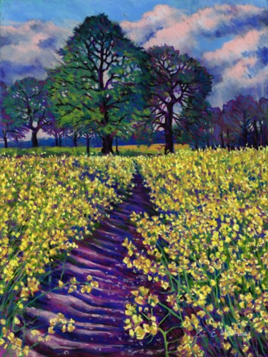 """Painting titled """"Spring Fields"""" by Zoe Norman, Original Art, Pastel"""